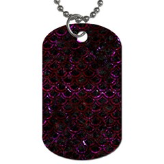 Scales2 Black Marble & Burgundy Marble Dog Tag (one Side) by trendistuff