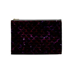 Scales3 Black Marble & Burgundy Marble Cosmetic Bag (medium)  by trendistuff