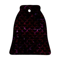 Scales3 Black Marble & Burgundy Marble Bell Ornament (two Sides)
