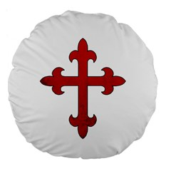 Crusader Cross Large 18  Premium Flano Round Cushions by Valentinaart