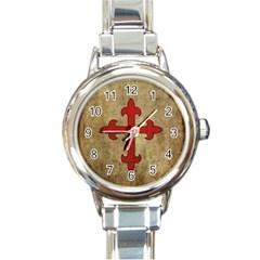 Crusader Cross Round Italian Charm Watch by Valentinaart