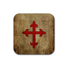 Crusader Cross Rubber Coaster (square)  by Valentinaart