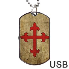 Crusader Cross Dog Tag Usb Flash (two Sides) by Valentinaart