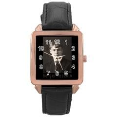 Sergei Yesenin Rose Gold Leather Watch  by Valentinaart