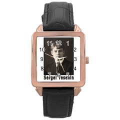 Sergei Yesenin Rose Gold Leather Watch  by Valentinaart