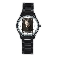 Sergei Yesenin Stainless Steel Round Watch by Valentinaart