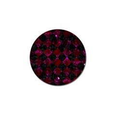 Square2 Black Marble & Burgundy Marble Golf Ball Marker by trendistuff