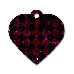 Square2 Black Marble & Burgundy Marble Dog Tag Heart (one Side) by trendistuff