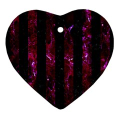 Stripes1 Black Marble & Burgundy Marble Ornament (heart) by trendistuff