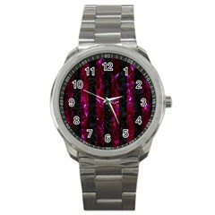 Stripes1 Black Marble & Burgundy Marble Sport Metal Watch by trendistuff