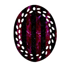 Stripes1 Black Marble & Burgundy Marble Ornament (oval Filigree) by trendistuff