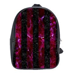 Stripes1 Black Marble & Burgundy Marble School Bag (xl) by trendistuff