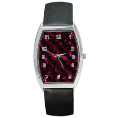 Stripes3 Black Marble & Burgundy Marble (r) Barrel Style Metal Watch by trendistuff