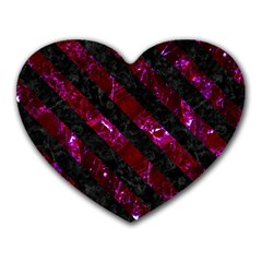 Stripes3 Black Marble & Burgundy Marble (r) Heart Mousepads by trendistuff