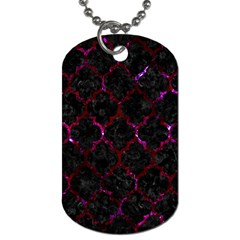 Tile1 Black Marble & Burgundy Marble Dog Tag (two Sides) by trendistuff