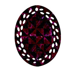 Triangle1 Black Marble & Burgundy Marble Ornament (oval Filigree) by trendistuff