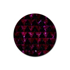 Triangle2 Black Marble & Burgundy Marble Rubber Coaster (round)  by trendistuff