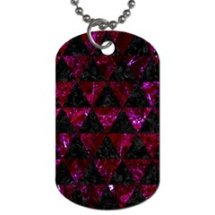Triangle3 Black Marble & Burgundy Marble Dog Tag (one Side) by trendistuff