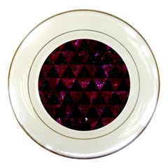 Triangle3 Black Marble & Burgundy Marble Porcelain Plates by trendistuff