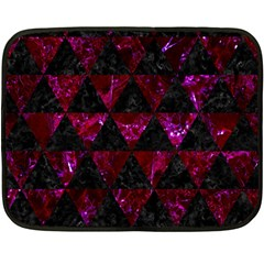 Triangle3 Black Marble & Burgundy Marble Fleece Blanket (mini) by trendistuff