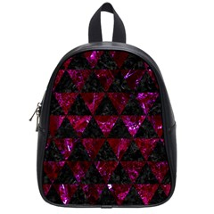 Triangle3 Black Marble & Burgundy Marble School Bag (small) by trendistuff