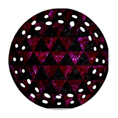Triangle3 Black Marble & Burgundy Marble Round Filigree Ornament (two Sides) by trendistuff