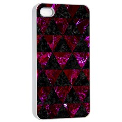 Triangle3 Black Marble & Burgundy Marble Apple Iphone 4/4s Seamless Case (white) by trendistuff
