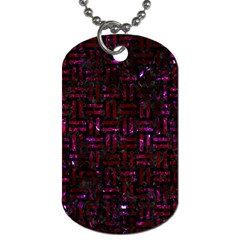 Woven1 Black Marble & Burgundy Marble Dog Tag (two Sides) by trendistuff