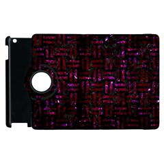 Woven1 Black Marble & Burgundy Marble Apple Ipad 2 Flip 360 Case by trendistuff