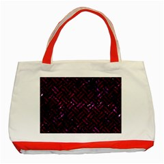 Woven2 Black Marble & Burgundy Marble Classic Tote Bag (red) by trendistuff