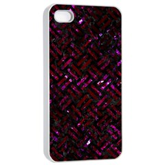 Woven2 Black Marble & Burgundy Marble Apple Iphone 4/4s Seamless Case (white) by trendistuff