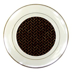 Brick2 Black Marble & Copper Foil Porcelain Plates by trendistuff