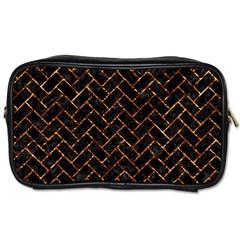 Brick2 Black Marble & Copper Foil Toiletries Bags by trendistuff