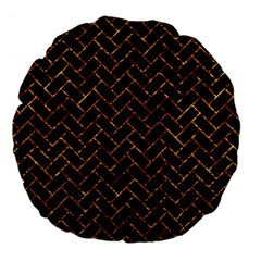 Brick2 Black Marble & Copper Foil Large 18  Premium Flano Round Cushions by trendistuff