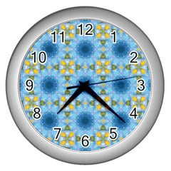 Blue Nice Daisy Flower Ang Yellow Squares Wall Clocks (silver)  by MaryIllustrations