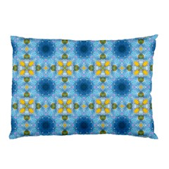 Blue Nice Daisy Flower Ang Yellow Squares Pillow Case by MaryIllustrations