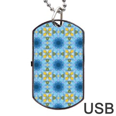 Blue Nice Daisy Flower Ang Yellow Squares Dog Tag Usb Flash (two Sides) by MaryIllustrations