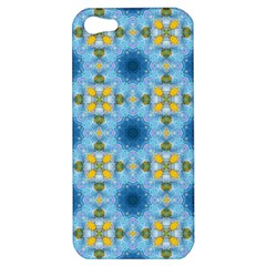 Blue Nice Daisy Flower Ang Yellow Squares Apple Iphone 5 Hardshell Case by MaryIllustrations