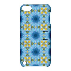 Blue Nice Daisy Flower Ang Yellow Squares Apple Ipod Touch 5 Hardshell Case With Stand by MaryIllustrations