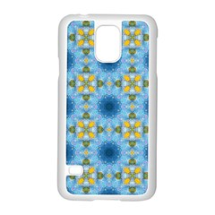 Blue Nice Daisy Flower Ang Yellow Squares Samsung Galaxy S5 Case (white) by MaryIllustrations