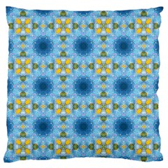 Blue Nice Daisy Flower Ang Yellow Squares Large Flano Cushion Case (two Sides) by MaryIllustrations