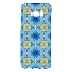 Blue Nice Daisy Flower Ang Yellow Squares Samsung Galaxy S8 Plus Hardshell Case  by MaryIllustrations