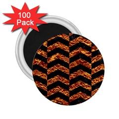 Chevron2 Black Marble & Copper Foil 2 25  Magnets (100 Pack)  by trendistuff