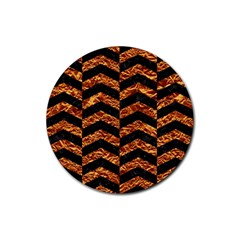 Chevron2 Black Marble & Copper Foil Rubber Round Coaster (4 Pack)  by trendistuff
