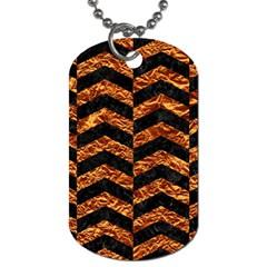 Chevron2 Black Marble & Copper Foil Dog Tag (one Side) by trendistuff