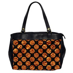 Circles2 Black Marble & Copper Foil Office Handbags (2 Sides)  by trendistuff