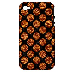 Circles2 Black Marble & Copper Foil Apple Iphone 4/4s Hardshell Case (pc+silicone) by trendistuff