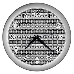 Fancy Tribal Border Pattern 17b Wall Clocks (silver)  by MoreColorsinLife