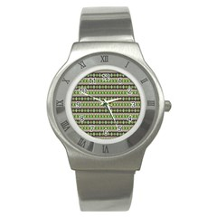 Fancy Tribal Border Pattern 17a Stainless Steel Watch by MoreColorsinLife