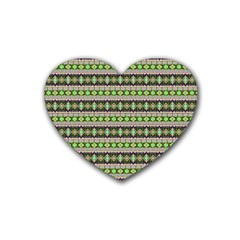 Fancy Tribal Border Pattern 17a Rubber Coaster (heart)  by MoreColorsinLife